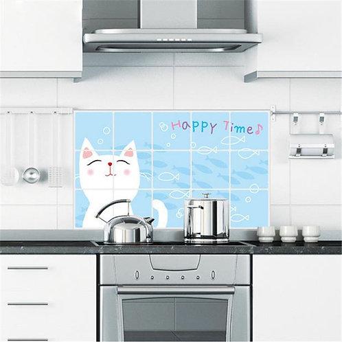Cute Cat - 2 מדבקת קיר לכיריים גז - חתול חמוד