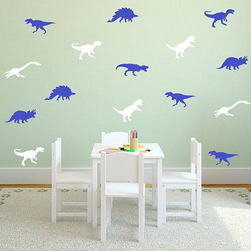 מדבקת קיר - דמוי טפט - שלל צבעים - דינוזאורים