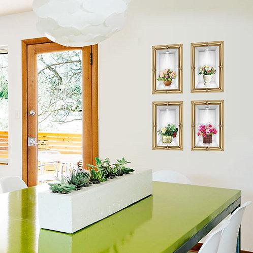 מדבקת קיר נישה - פרחים באגרטל