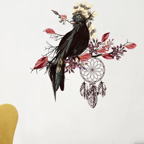 מדבקת קיר- ציפור גדולה עם נוצות במרכז בגוון טורקיז
