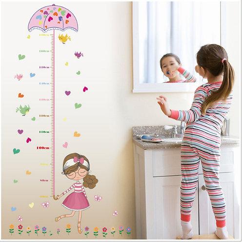 מדבקת קיר - ילדה מתוקה עם מיטריה למדידת גובה