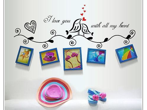 I love you with all my heart - מדבקת קיר - אוהב/ת אותך בכל ליבי