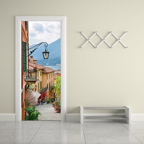 מדבקת קיר לדלת - מבט לרחוב פסטורלי ציורי