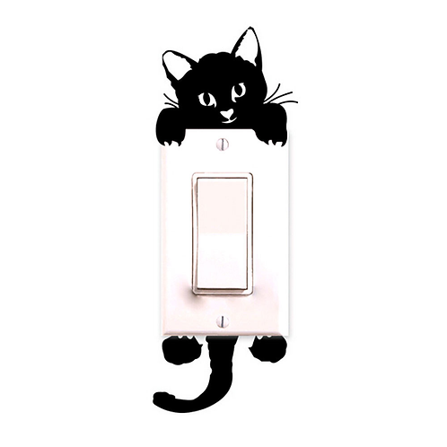 מדבקת קיר  חתול למתג תאורה בחדר ילדים