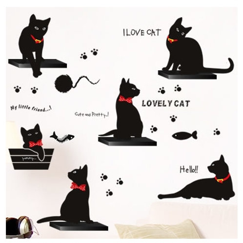 מדבקת קיר - אני אוהב חתולים