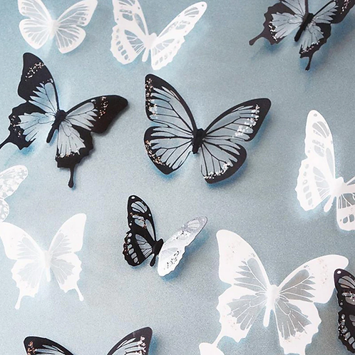 פרפרים שחור ולבן תלת מימד