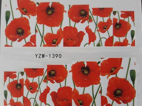 YZW1390 - מדבקת ציפורניים - פרחים אדומים