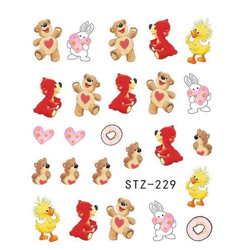 STZ229 - מדבקת ציפורניים - דובון וארנב עם לב