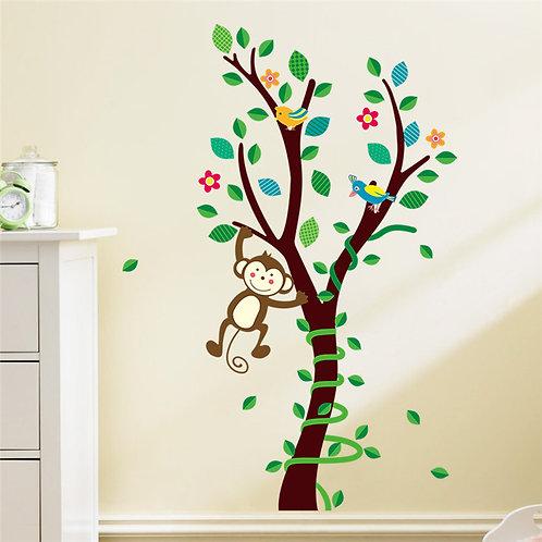 מדבקת קיר - עץ עם ציפורים וקוף