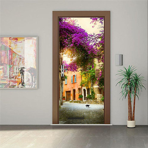 Pastoral Neighborhood - מדבקת קיר לדלת - שכונה פסטורלית וציורית