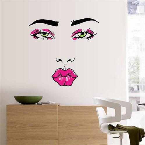 Beauty Woman face - מדבקת קיר - פנים של אישה יפה ושפתיים אדומות