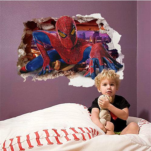 Amazing Spiderman - מדבקת קיר ספידרמן מבעד לחור בקיר