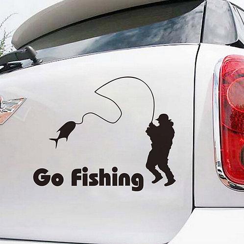 Go Fishing -  מדבקת קיר לרכב - הולך לדוג
