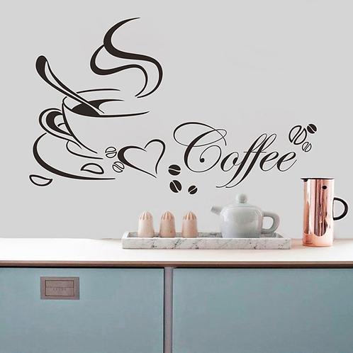 מדבקת קיר - אוהב קפה