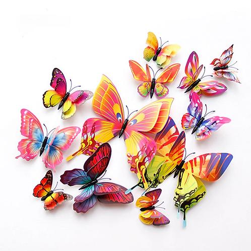 מיקס פרפרים מגנטיים בעלי שכבת צבע כפולה תלת מימד