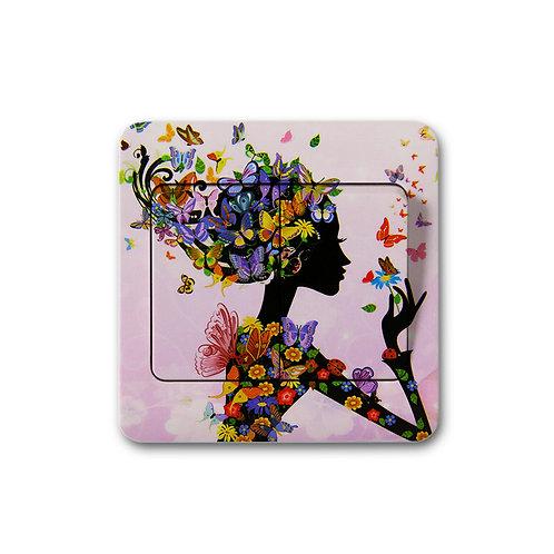 מדבקת קיר נערה פרחונית מפריחה פרפרים - למפסק