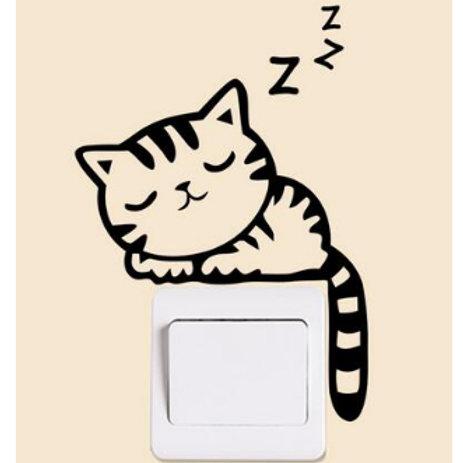 מדבקת קיר - חתול מנמנם