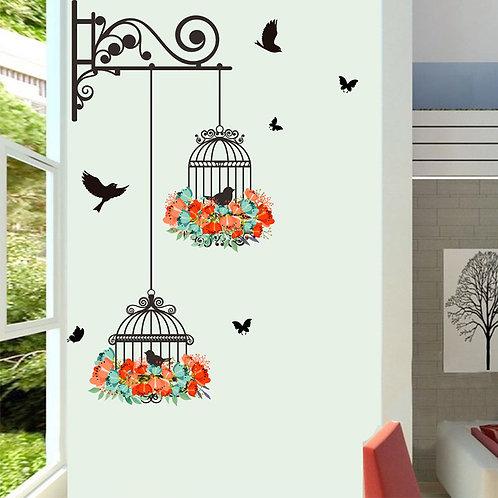 מדבקת קיר - כלובים תלויים ציפורים ופרחים