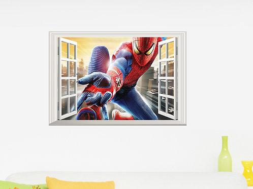 Spiderman - מדבקת קיר ספידרמן מבעד לחלון