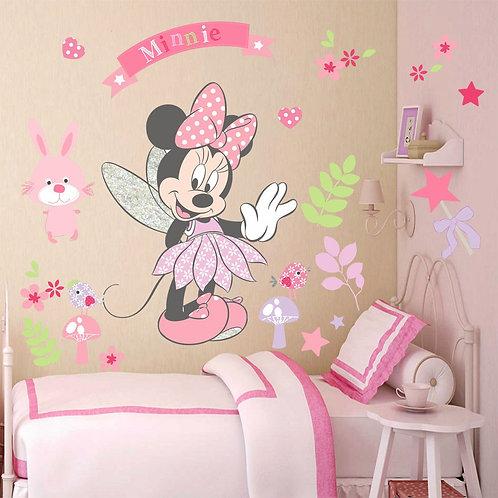 Minnie - מדבקת קיר - דיסני - מיני מאוס עם לבבות ופרחים