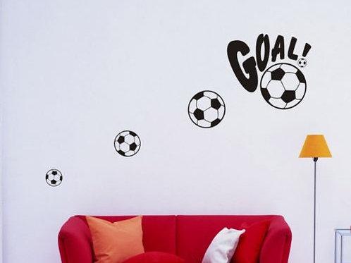Goal -  מדבקת קיר - כדורגל עם הכיתוב גול
