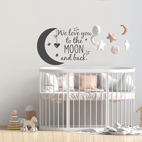 מדבקת קיר אנחנו אוהבים אותך עד הירח ובחזרה