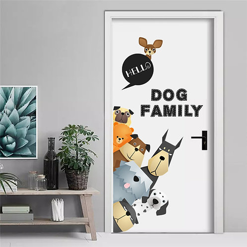 Happy Dogs Family - מדבקת קיר משפחת הכלבים