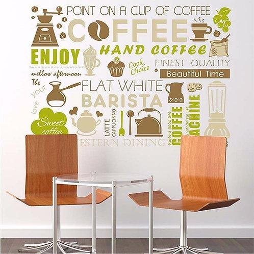 Enjoy good life with Coffee - מדבקת קיר קפה -מיקס משפטי קפה