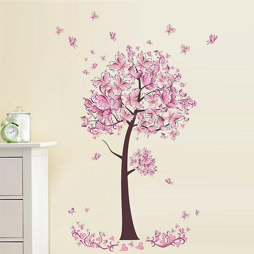Pink Butterflies Tree- מדבקת קיר - עץ עם פרפרים ורודים