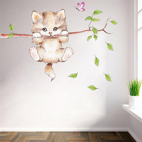 A Lovely Kitten - מדבקת קיר חתלתול מקסים נתלה על ענף