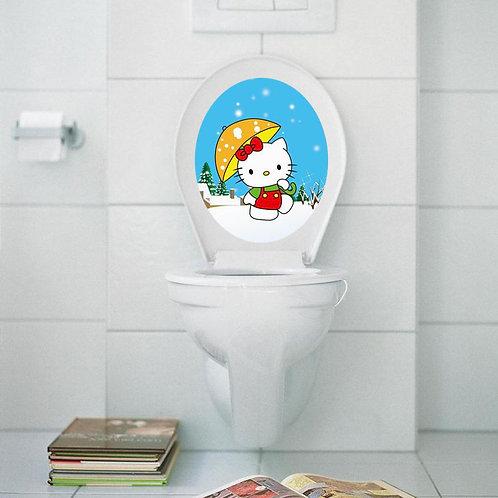 Toilet seat Hello Kitty - מדבקת קיר למושב האסלה הלו קיטי