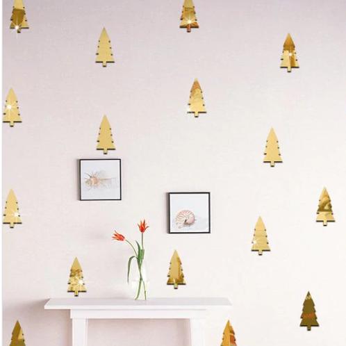 מדבקת קיר מראה- עץ אורן תלת מימד מזהב