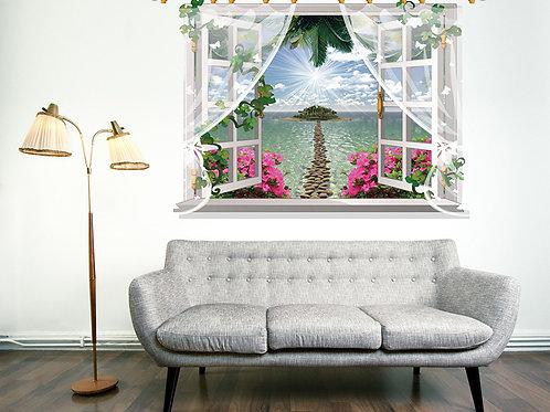 מדבקת קיר - חלון בקיר עם פרחים משקיף לים עם שביל חלוקי נחל