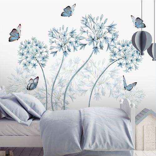 מדבקת קיר דקורטיבית ואומנותית פרפרים ופרחים כחולים