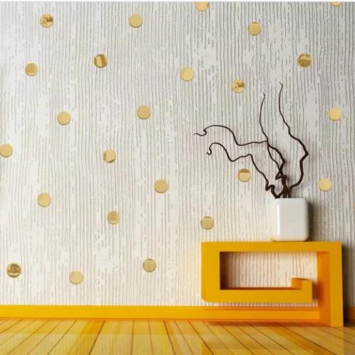 מדבקת קיר- 100 עיגולי מראה מזהב