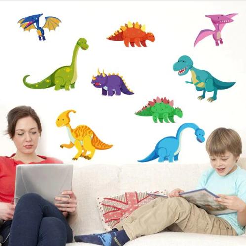 מדבקת קיר- דינוזאורים בצבעים