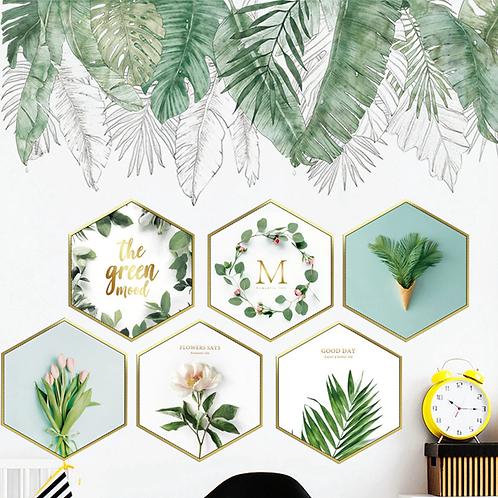 שש מסגרות גיאומטריות עם פרחים