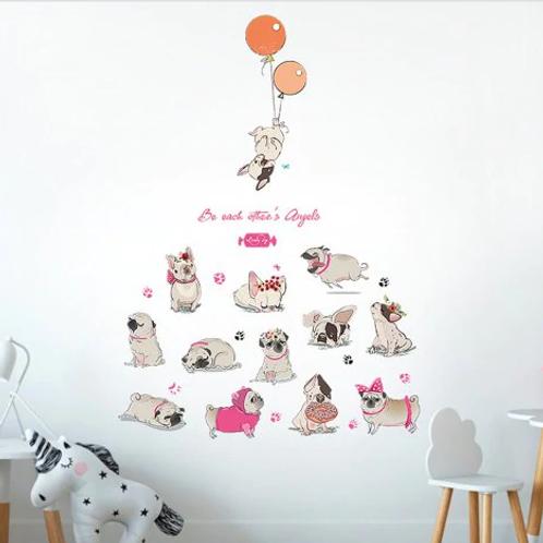 מדבקת קיר- קריקטורת כלבים עם בלון