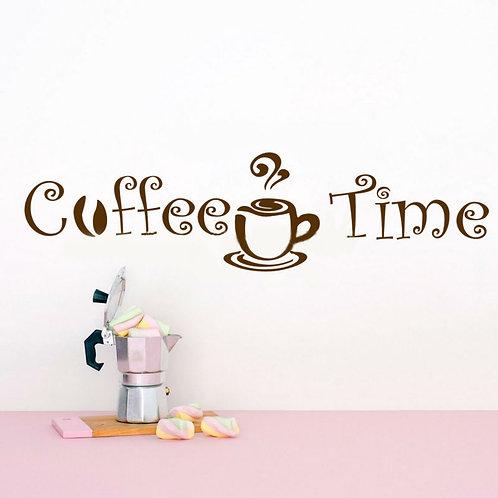 Coffee Time - מדבקת קיר קפה - שעת הקפה הגיעה