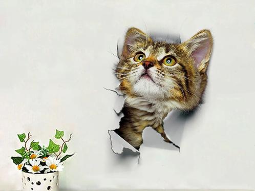 מדבקת קיר חתול פורץ מן הקיר