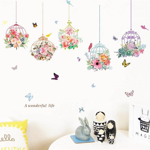 מדבקת קיר כלובי ציפורים פרחים ופרפרים