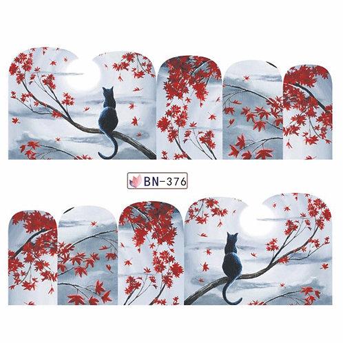 BN376- מדבקת ציפורניים - פרחים אדומים וחתול