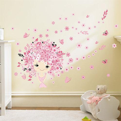 מדבקת קיר - נערה עם שיער מפרחים ופרפרים