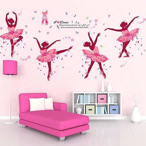 I Love Dance Ballet - מדבקת קיר -רקדניות בלט