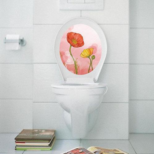 Beautiful Flowers - מדבקת קיר למושב האסלה פרחים מאויירים2