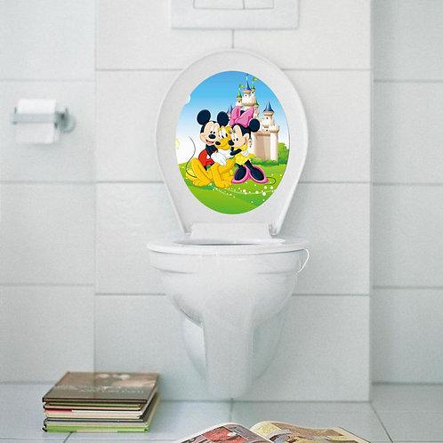 Mickey and Minnie Mouse - מדבקת קיר למושב האסלה מיקי ומיני מאוס