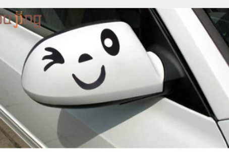 Wink - מדבקת קיר לרכב - (זוג) חיוך וקריצה