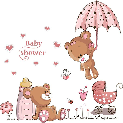 מדבקת קיר- זוג דובים חמודים