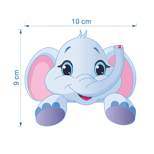 מדבקת קיר קטנה פיל וחתול חמודים