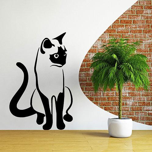 מדבקת קיר - חתול יושב ומביט